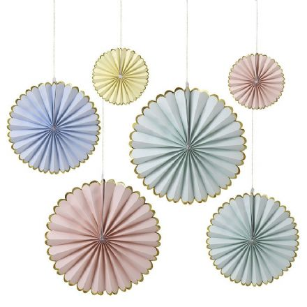 Pastel Pinwheel Fan Decorations - pack of 6